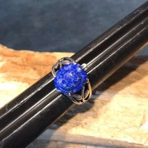 Jewelry - Carved Turtle Ring in Lapis & Sterling